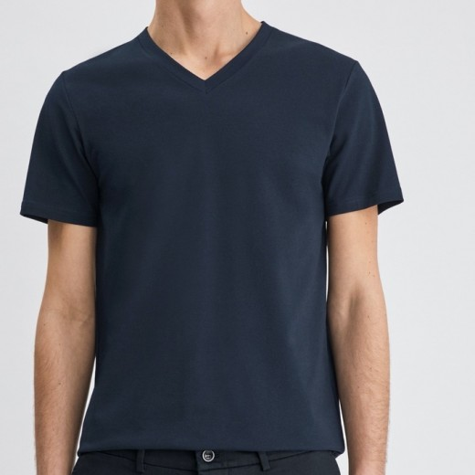 Soft Lycra V-Neck tee Navy-03