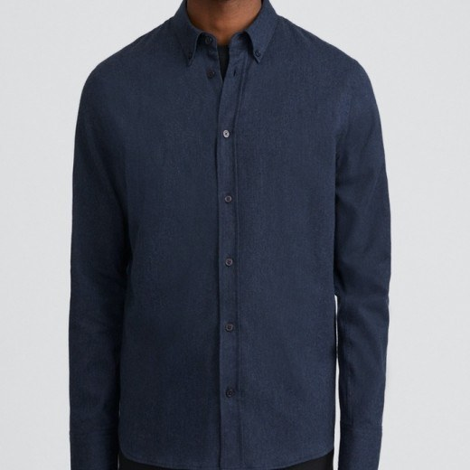 Lewis Flannel Shirt Blue Melange-33