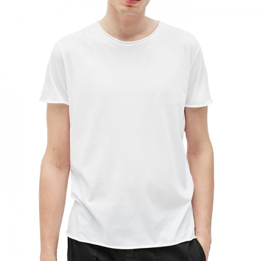 Roll Neck Tee White-01