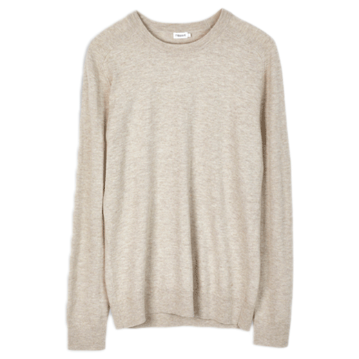 Cotton Merino Sweater Light Beige-01
