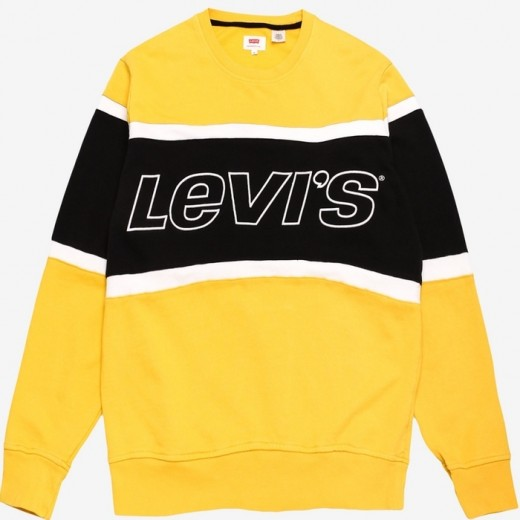 Pieced Crew Sweatshirt Yellow/Black/White-31