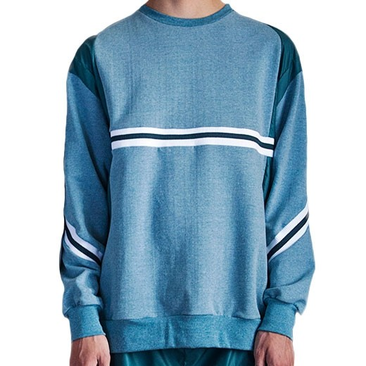 Green crewneck w rib and nylon-31