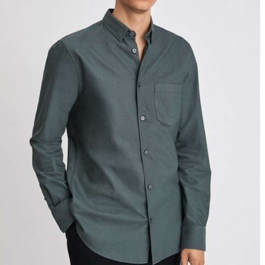 Tim Oxford Shirt Stone Green-31